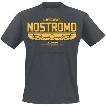 Nostromo logotipo alienígena hombres camiseta