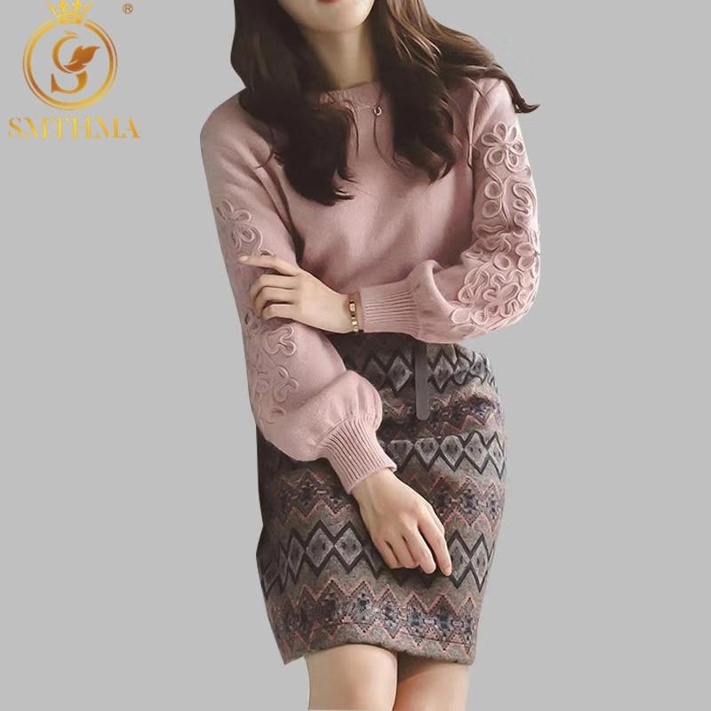 SMTHMA Women winter Korean embroidery knitting sweater +two piece Tweed wool 2 piece Geometric print Skirt set(China)