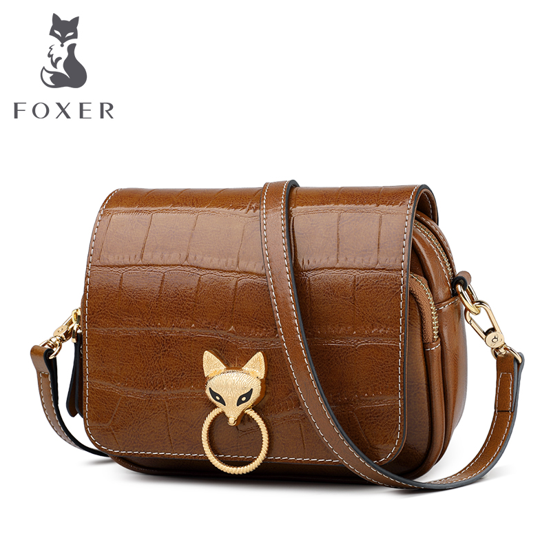 FOXER Cowhide Leather Shoulder Bags Female Large Capacity Crossbody Bags Retro Woman Handbags Stylish Flap Bag For Lady 9113048F
