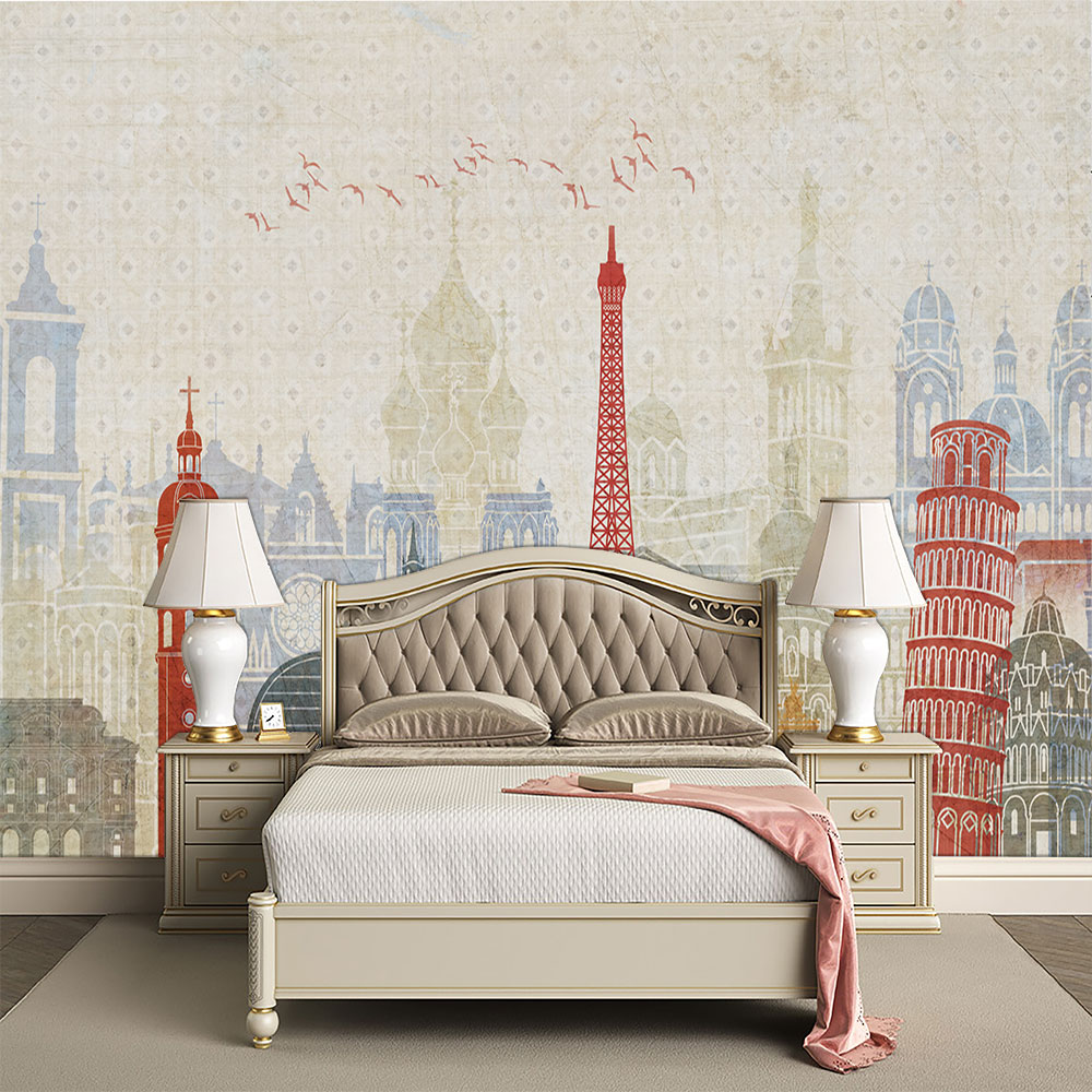 Seamless Wallpaper Vintage Style Abstract City Architecture Background Wall