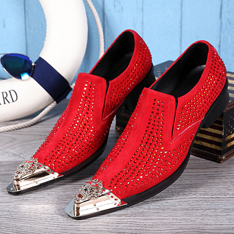 Christia Bella Personalized Fashion Male Red Rhinestone Suede Leather Party Shoes Men's Plus Size Golden Pointed Toe Dress Shoes