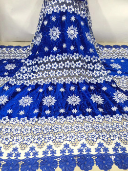 8colors newest design African guipure velvet lace fabric in royal blue and white with embroidery for attractive dress  FZZ432