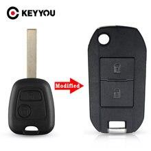 KEYYOU para Peugeot 307, 107, 207, 407 Citroen C1 C2 C3 C4 C5 modificado de entrada a control remoto estuche para mando a distancia 2 botones