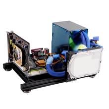 Diy quadro aberto caso do computador para itx mainboard dissipação de calor liga de alumínio chassi nua blocos de construção quadro