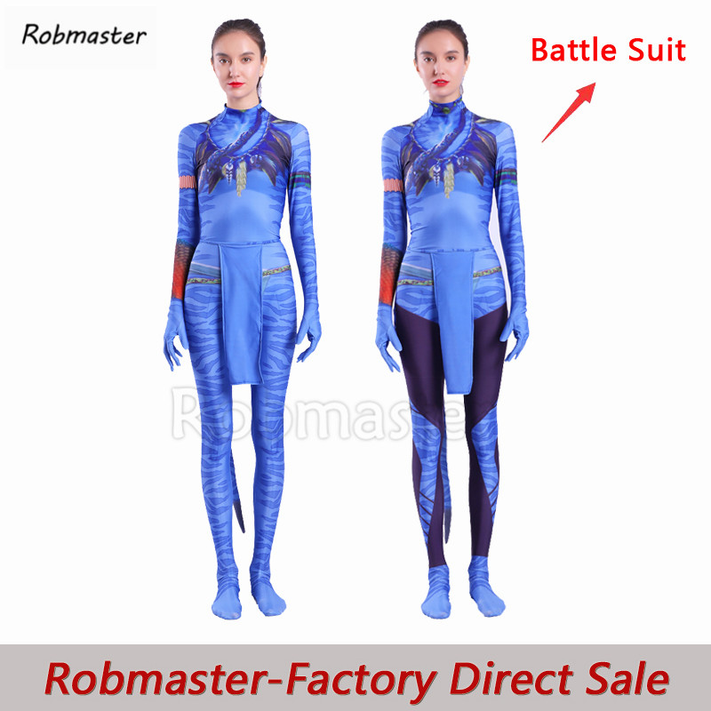 Movie Avatar 2 Neytiri Cosplay Costumes Tail Zentai Suit Spandex Battle Bodysuit Jumpsuits Halloween Costume Adult Women Girls