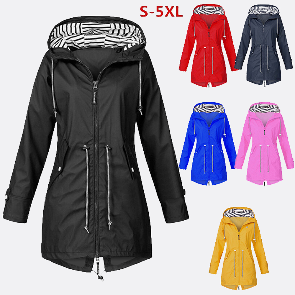 Wipalo Jackets Women Plus Size Solid Long Sleeve Outwear Coats Rainproof Women Hooded Clothes Windproof Regular Cover Up S-5XL