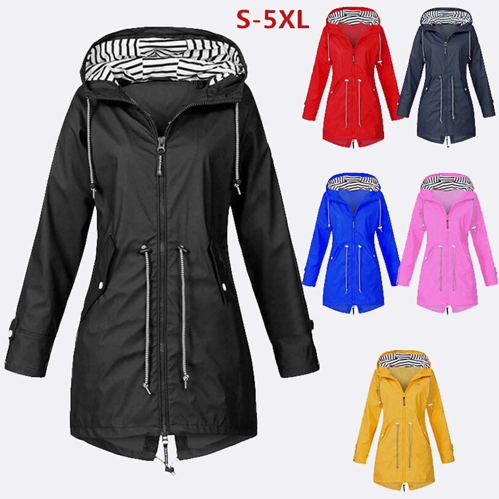 Wipalo Jackets Women Plus Size Solid Long Sleeve Outwear Coats Rainproof Women Hooded Clothes Windproof Regular Cover Up S-5XL