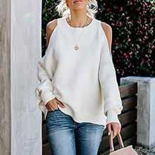 Women Autumn Clothes Off Shoulder Sweaters Batwing Sleeve Loose Oversized Pullover Knit Tops Causal Solid