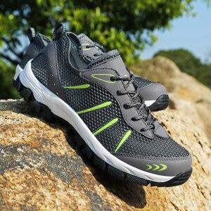Image 4 - Männer Turnschuhe Atmungsaktiv Casual Schuhe Männer Mesh Lace up Komfortable Outdoor Walking Schuhe Mode Sport Männer Schuhe Plus Größe 48