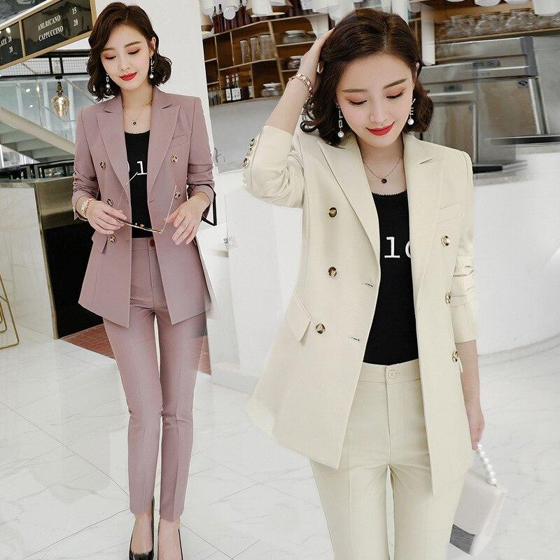 New Women Suit Jacket Female College Interview Suit Fashion Overalls Ol Womens Suits Set 2 Piece Pant Suits For Women Blazer Set