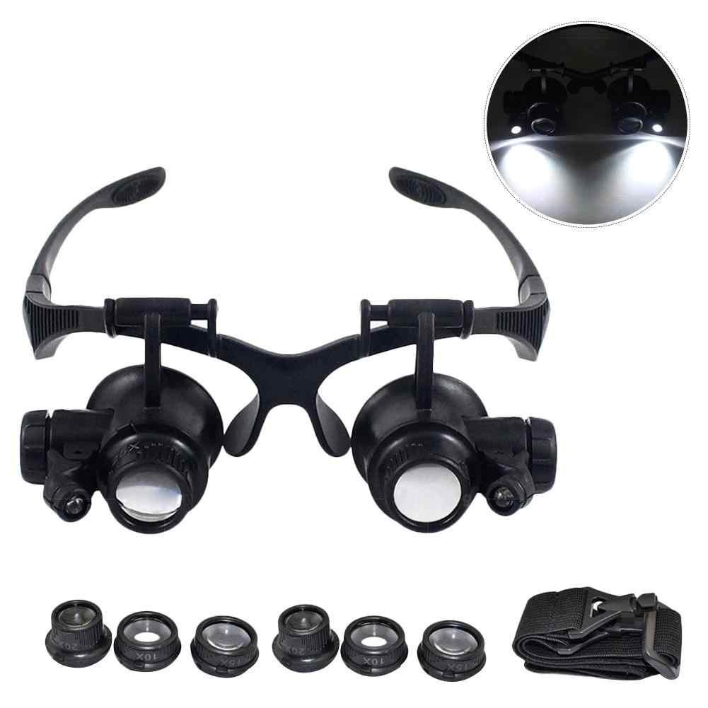 10X 15X 20X 25X Double oeil lunettes Loupe tête portant Loupe casque avec lumière LED pour montre réparation bijoutier