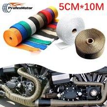 Rollo de protector térmico de fibra de vidrio, 5CM x 10M, envoltura de tubo de escape, cinta de calor, protección térmica + 6 bridas, Kit de tubo de escape aislante