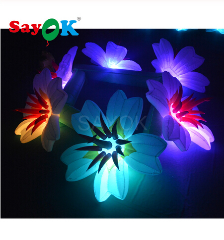 Sayok 6m Long(6 Flowers)Inflatable Flower Chain Inflatable LED Flower With 16 Color Lights For Wedding Backdrop Party Decoration