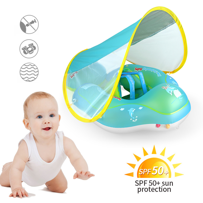 Baby Swimming Pool Float With Removable UPF 50+ UV Sun Protection Canopy,Toddler Inflatable Pool Float Baby Lifebuoy