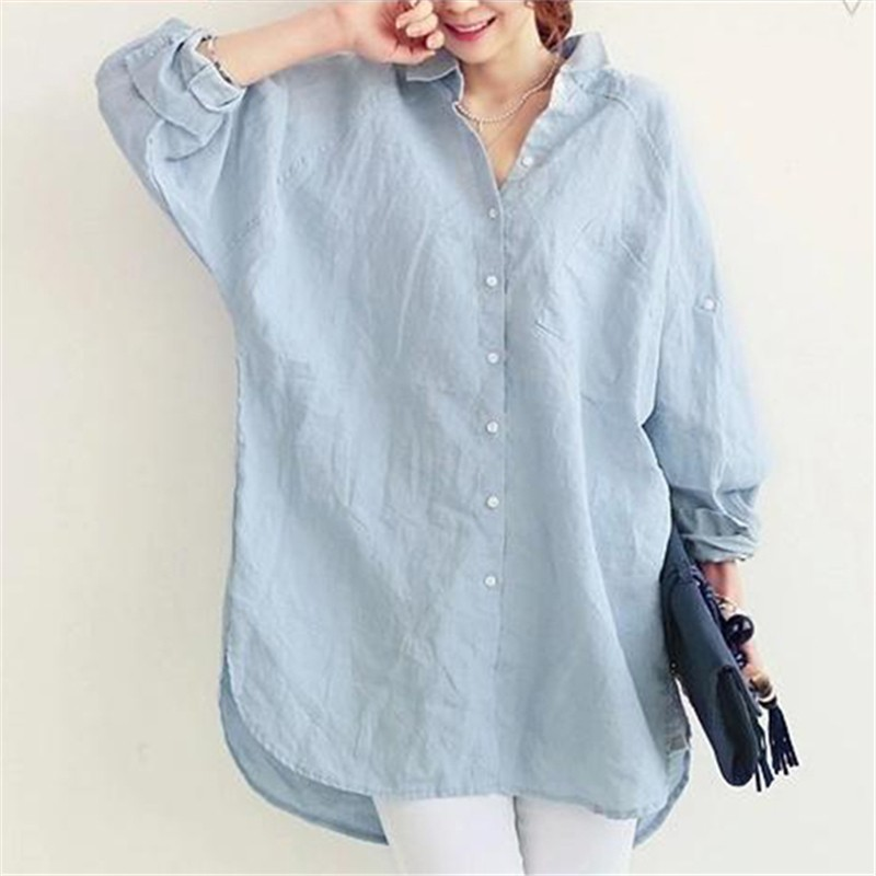 VogorSean Womens Blouses Shirt Spring Summer Blusas Office Lady Elegant Loose Tops and Blouses White Casual Linen Women in Blouses amp Shirts from Women 39 s Clothing