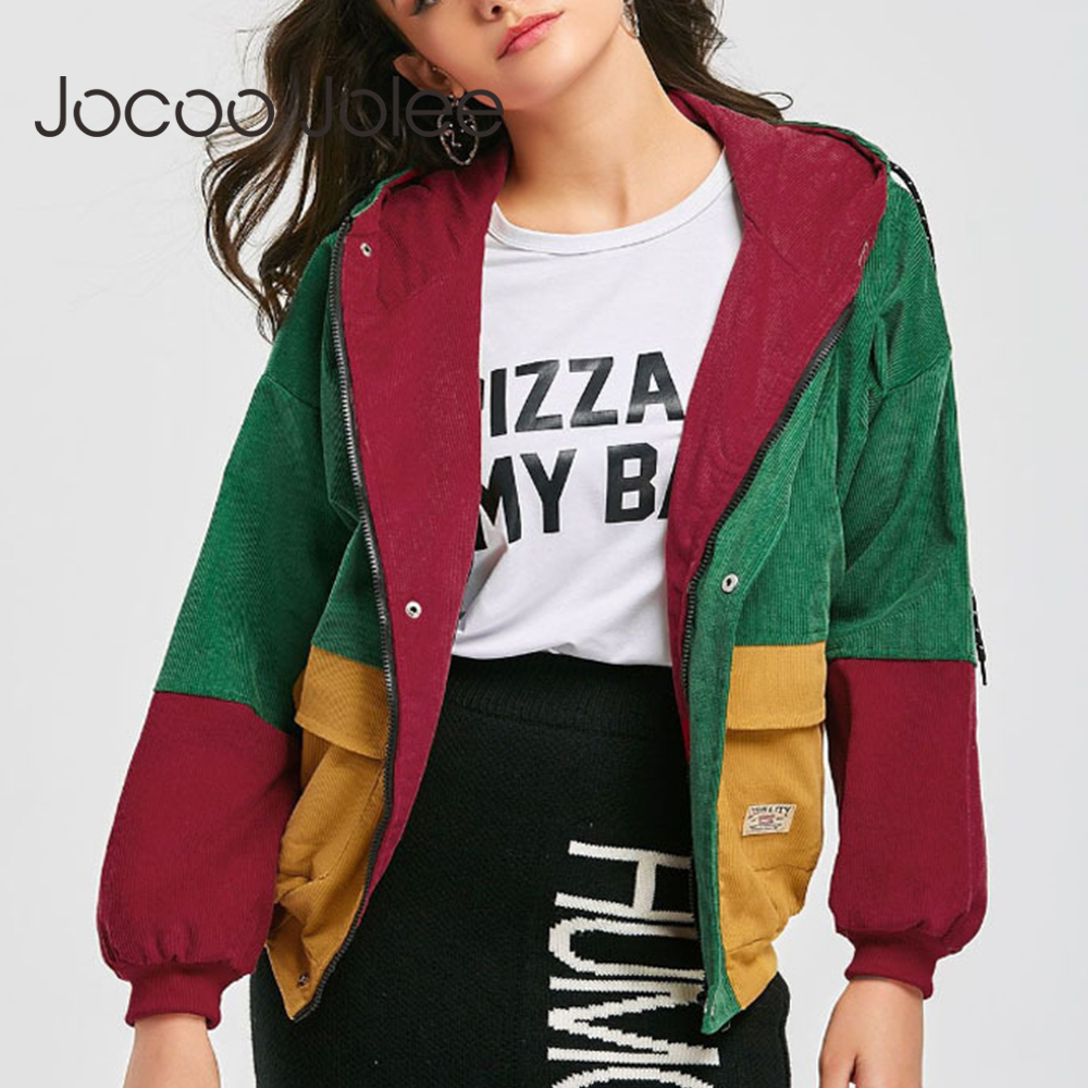 Jocoo Jolee Autumn Women Long Sleeve Patchwork Vintage Corduroy Jackets Casual Panelled Color Basic Coats Plus Size 3XL 2019