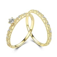 New Luxury Yellow 18K Real True Solid Gold Genuine Diamond Rings Bands for Women Lady Baroque Fancy Upscale Office Jewelry Gift