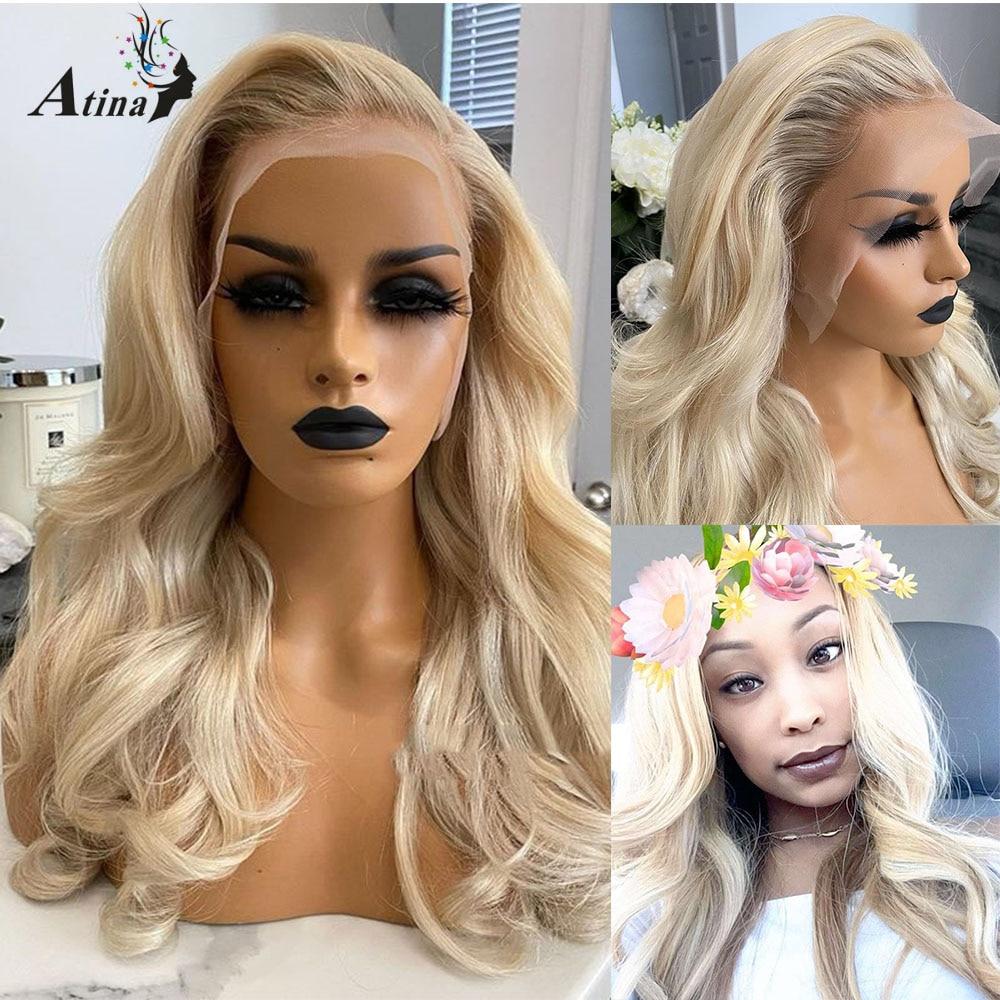 PrePlucked brazylijski Bleach węzłów koronkowa peruka z dzieckiem włosy Ombre 613 blond kolorowe włosy ludzkie peruka splot HD przezroczysty