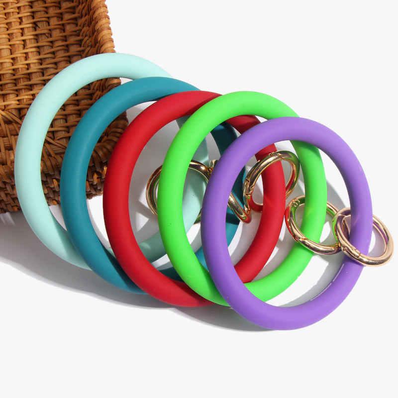 Apenas sinta moda silicone loop pulso chaveiro com fecho de ouro redondo chave pulseira de pulso acessórios presente por atacado