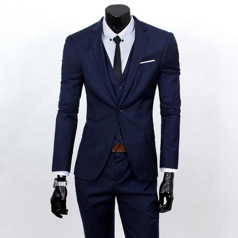 MEN'S Suit Set Men's Slim Fit Handsome Casual Small Suit Three-piece Set Trend Korean-style Coat Teenager Formal Wear