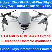 Pre-venda 249g hubsan zino mini pro com 3-eixo cardan 3-way desvio de obstáculos 10km fpv faixa 40 minutos de vôo rc zangão quadcopter