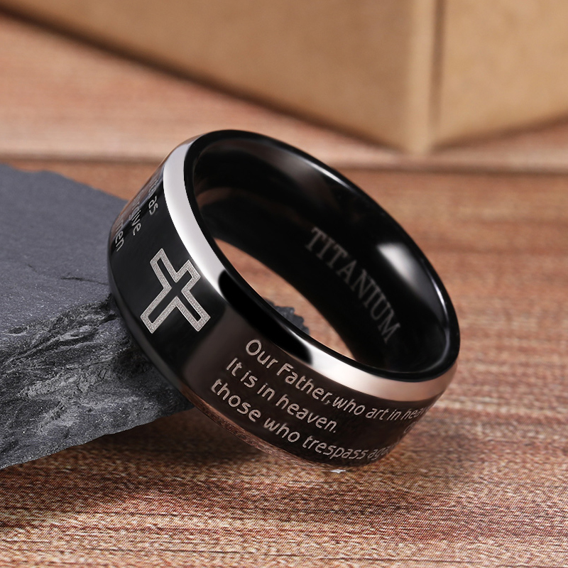 Tigrade Black Ring for Man Woman Titanium Bible Verse Cross Jesus Ring 8mm Wide English Unisex Christian Ring Religious Size5-15