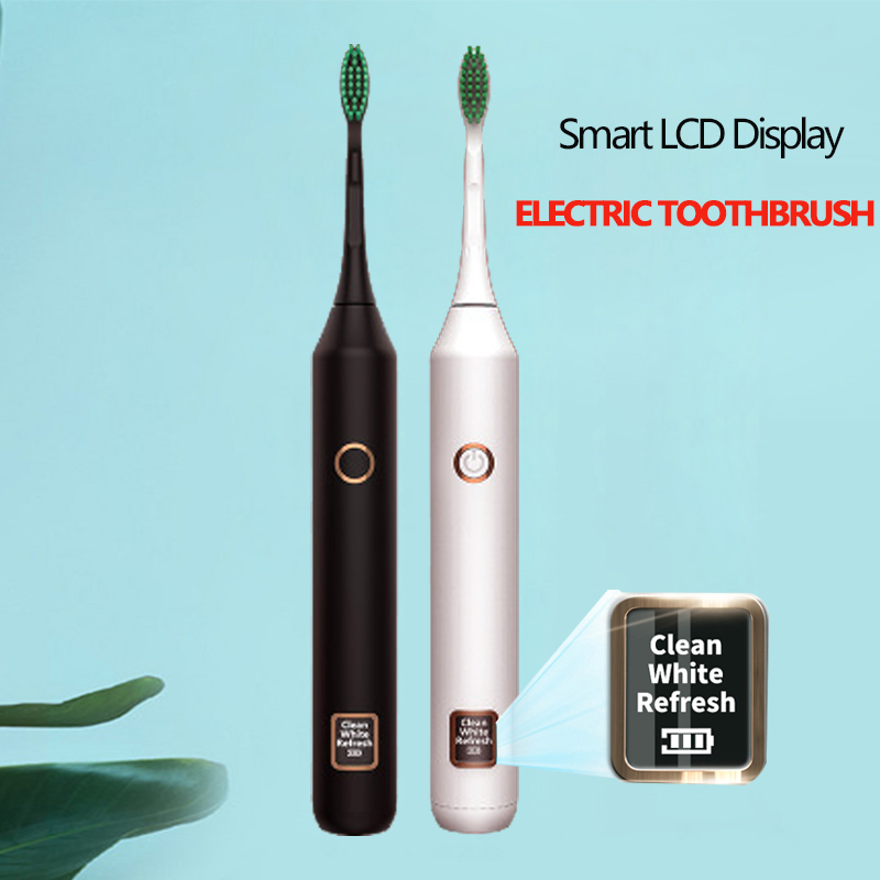 Rechargeable Sonic Electric Toothbrush With LED Screen Display IPX7 Waterproof Ultrasonic Fast Charging Tooth Brush For Couple