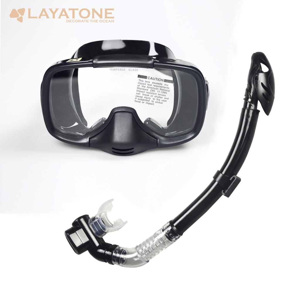 LayaTone Scuba Diving Mask Snorkel Anti-Fog Goggles Glasses Set Silicone Swimming Snorkeling Mask Dry Snorkel Set For Adult
