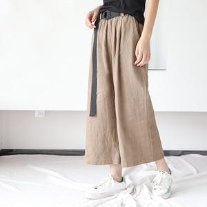 Image 2 - Johnature Frauen Breite Bein Hosen Taschen Elastische Taille 2020 Herbst Neue Feste Farbe Baumwolle Leinen Hosen Lässig Frauen Hosen