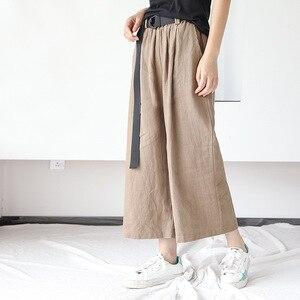 Image 2 - Johnature pantalones de pierna ancha para mujer, pantalón informal de lino y algodón, con bolsillos y cintura elástica, Color liso, 2020