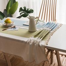 Fashion table cloth  art style print  fabric table cloth with tassel bird print table cloth