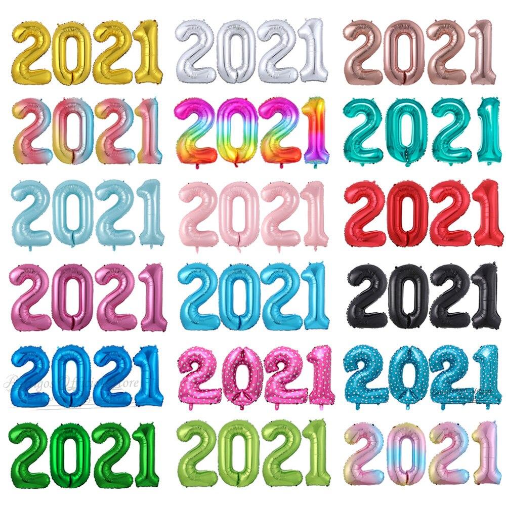 4 Pçs/set 16/32/40 Polegada Multi Cor 2021 Número Balões de Hélio Decorações do Ano Novo 2021 Navidad Decorações Fontes Do Partido Do Ouro Rosa