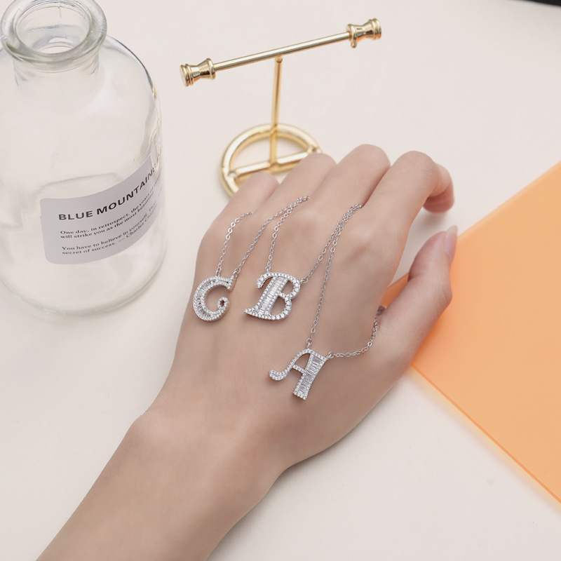 Image 2 - 100% Genuine 925 Silver Initial CZ Necklace Personalized O Z Letter Necklace Name Jewelry For Women Accessories Girlfriend Gift-in Necklaces from Jewelry & Accessories