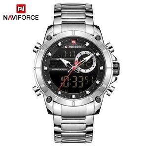 Image 2 - En lüks marka NAVIFORCE 2019 yeni erkekler spor kuvars kol saati adam için su geçirmez çift ekran tarih saat Relogio Masculino