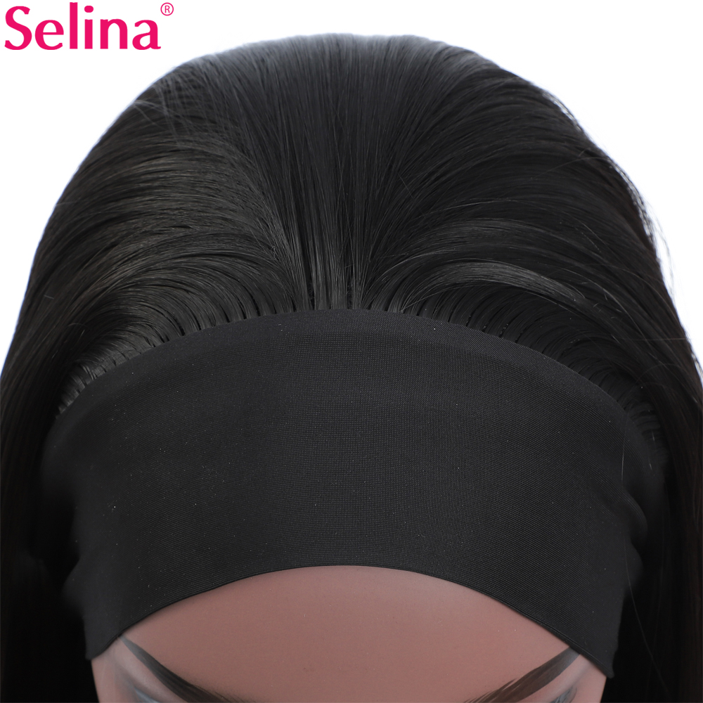 Straight Headband Wig for Women Thick Bouncy Black Hair Wig Synthetic Wig Cosplay Daily Lolita Wig
