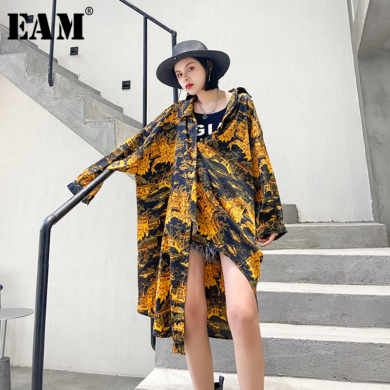 [EAM] Women Yellow Pattern Printed Big Size Long Blouse New Lapel Long Sleeve Loose Fit Shirt Fashion Spring Summer 2020 1T844