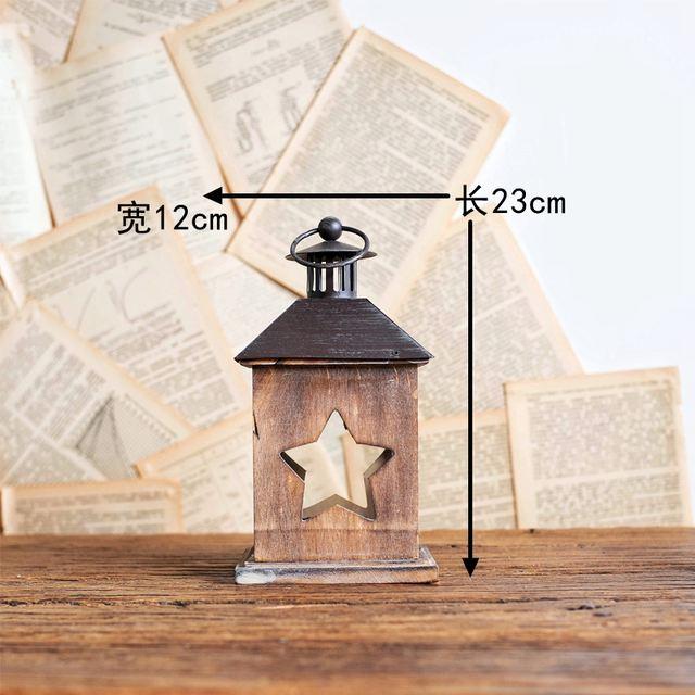 Windproof  Vintage Wood Lantern Candle Holder