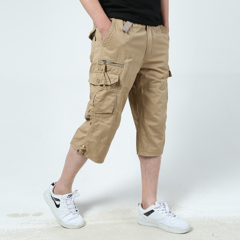Male Casual Shorts Multi Pockets Summer Loose Zipper Breeches Plus Size Short Pant Casual Cotton Middle Long Mens Cargo Shorts