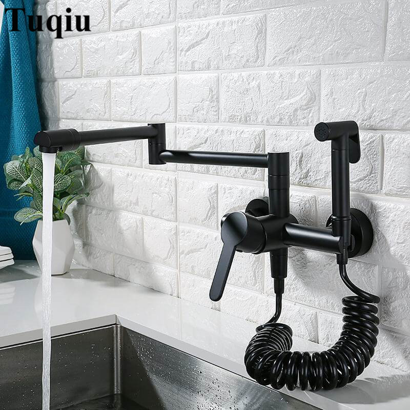 Kitchen Sink Faucets Total Brass Sink Mixer Tap Black Paint Hot Cold Wall Mounted With Spray