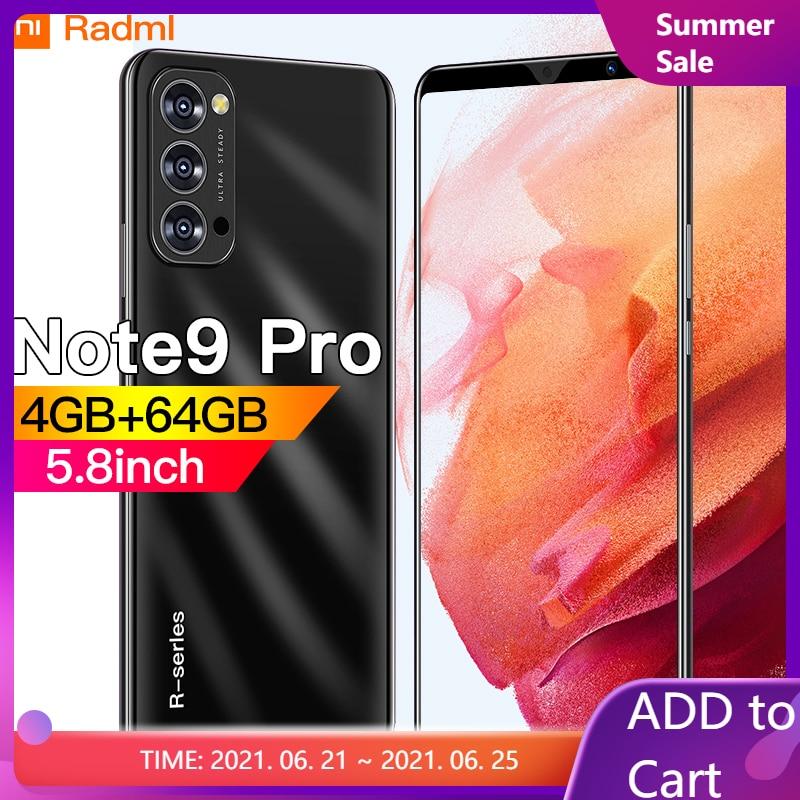 Radml Note9 pro Смартфон Android 5,8 дюймов 4G 5G 8MP + 13MP 4 Гб + 64 Гб мобильные телефоны открытые Celulares глобальная версия мобильного телефона новый