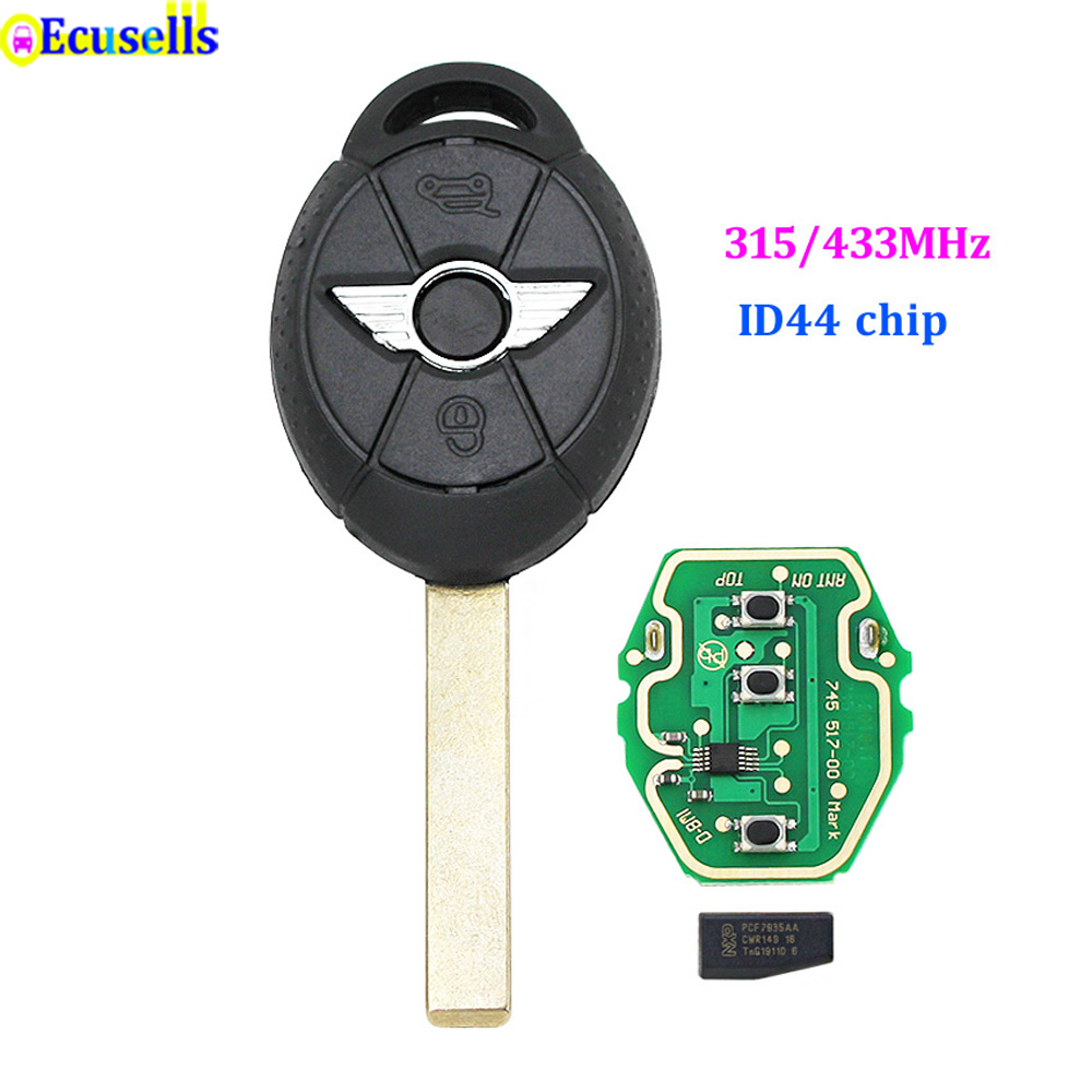 Полный дистанционный ключ с 3 кнопками для BMW Mini Cooper 315 МГц/433 МГц ID44 чип необработанное лезвие