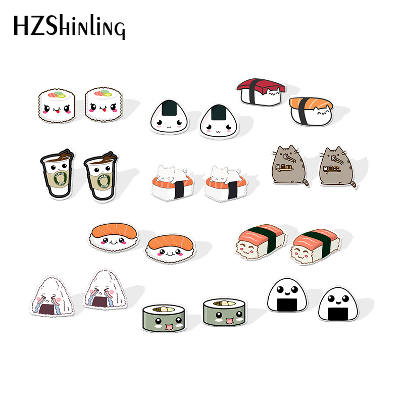 2019 Lovely Sushi Resin Earrings Kawaii Cartoon Rice Ball Acrylic Earrings Food Art Epoxy Stud Earring