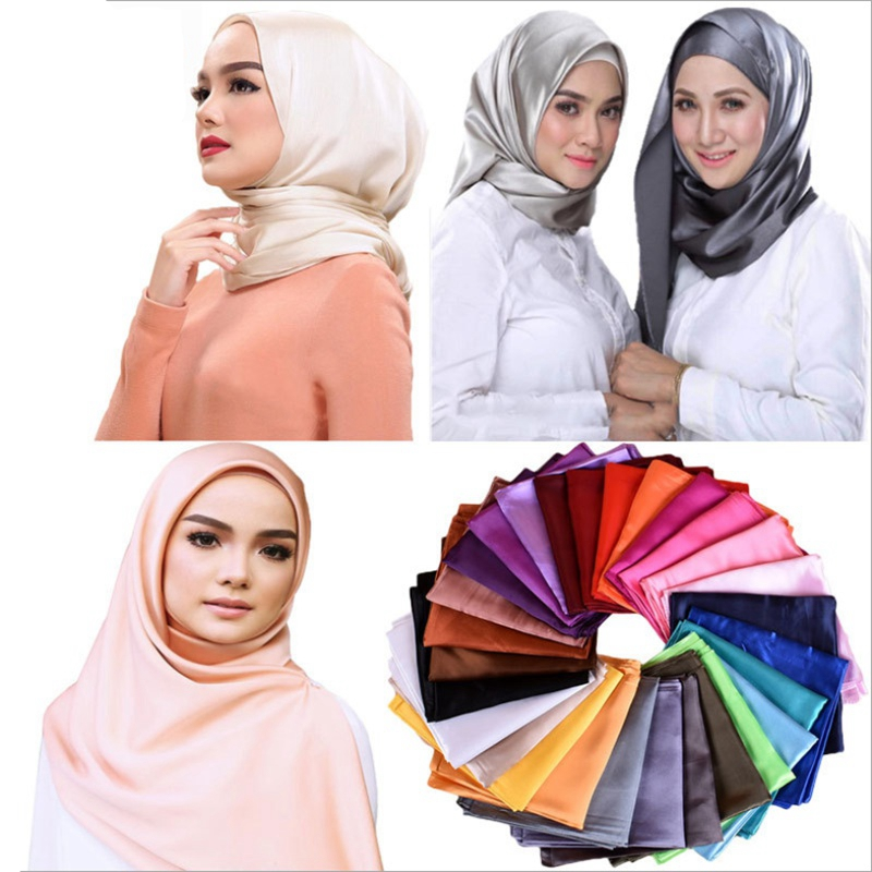WZCX 90*90 Solid Color Women Silk Scarf Spring Autumn Fashion New Moslim Malaysia Simple Square Headscarf Scarf Women