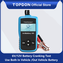 TOPDON AB101 جهاز اختبار بطارية السيارة 12 فولت الجهد بطارية اختبار شاحن السيارات محلل 2000CCA سيارة التحريك شحن اختبار الدوائر