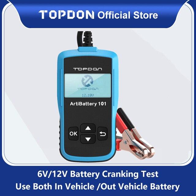 TOPDON AB101 Tester batteria per auto 12V voltaggio Test batteria analizzatore caricabatterie automobilistico 2000CCA Tester di ricarica per auto a gomito