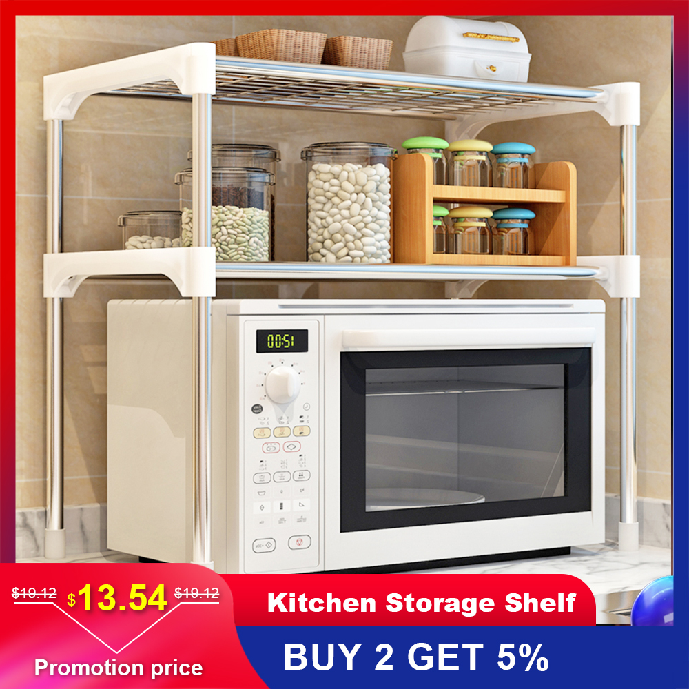 Multi functional Kitchen Storage Shelf Table Rack Microwave Oven Shelving Stainless Steel Adjustable  Kitchen Storage Holders-in Racks & Holders from Home & Garden