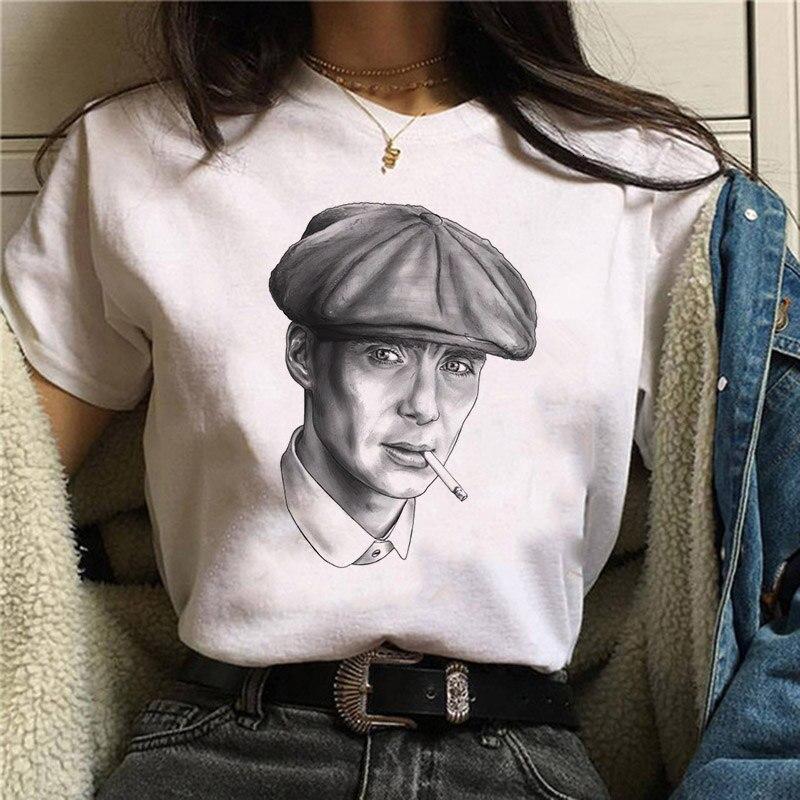 Peaky Blinder T Shirt Women Harajuku Ullzang Graphic T-shirt Funny Cartoon 90s Tshirt Aesthetic Korean Style Top Tees Female