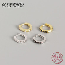 OBEAR 00% 925 Sterling Silver Miniature Round Black and White Zircon Small  Earrings for Women Sterling Silver Jewelry obear 100% 925 sterling silver earrings for women geometric rectangle zircon earrings girl gift silver jewelry