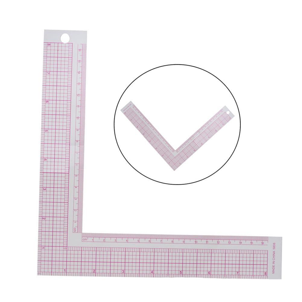 1piece L-shaped Ruler Diy Craft Sewing Tool Industrial Ruler Plastic Clothing Ruler Curve Sewing Measuring Ruler