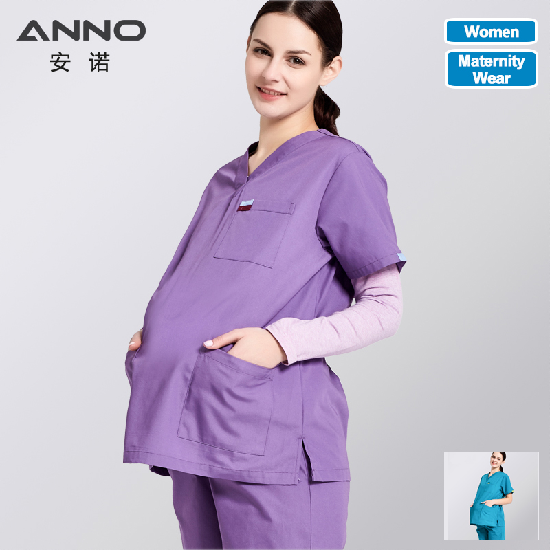 ANNO Maternity Work Wear Loose Pregnant Woman Nurse Uniforms Health And Beauty Care Hospital Clothing Medical ScrubsSet
